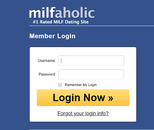 Milfaholic login reset and change password
